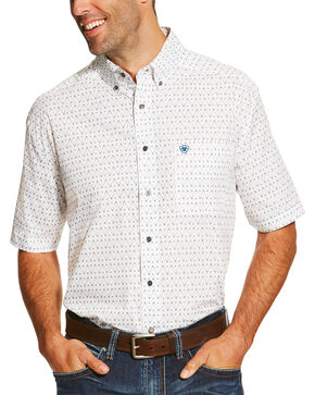 Ariat Men's Drew Print Short Sleeve Shirt, White, hi-res
