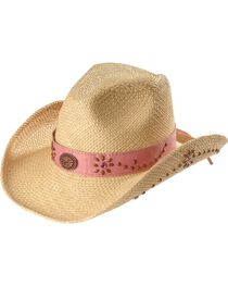Bullhide Girls' Daughter of the West Straw Cowgirl Hat, Pink, hi-res