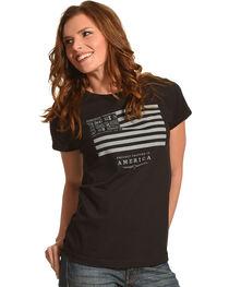 Jack Daniels Women's Black Jack Daniels & Stripes T-Shirt , , hi-res