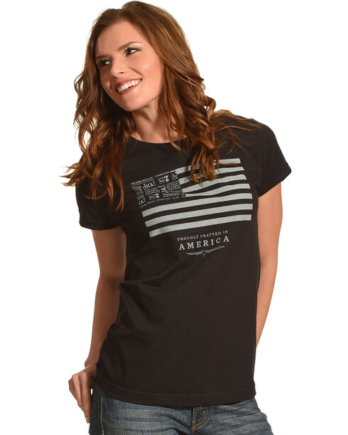Jack Daniels Women's Black Jack Daniels & Stripes T-Shirt , Black, hi-res
