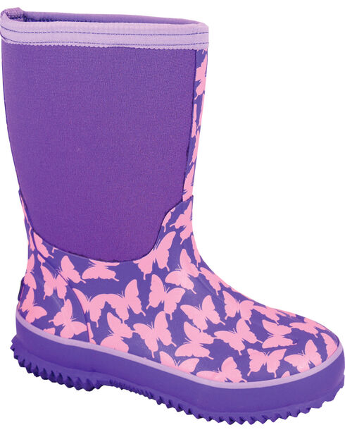 Smoky Mountain Girls' Butterfly Waterproof Boots, Purple, hi-res