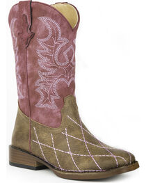 Roper Girls' Pink Cross Cut Cowgirl Boots - Square Toe , , hi-res
