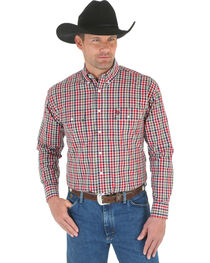 Wrangler George Strait Men's Green, Red, and Navy Plaid Western Shirt, , hi-res