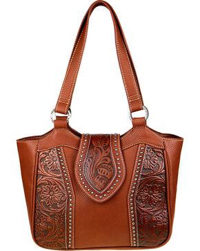 Montana West Trinity Ranch Genuine Floral Tooled Handbag , Brown, hi-res