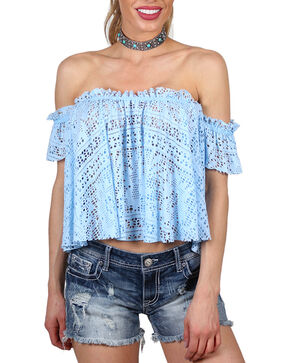 Shyanne Women's Off the Shoulder Sheer Crop Top, Light/pastel Blue, hi-res