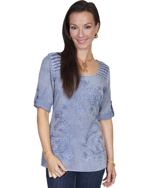 Scully Women's Half Sleeve Tonal Embroidered Blouse, Light Blue, hi-res