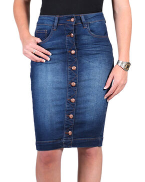 Boom Boom Denim Women's Button Down Denim Skirt , Blue, hi-res