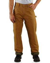 Carhartt Men's Flannel Lined Double Front Dungaree Pants, Brown, hi-res