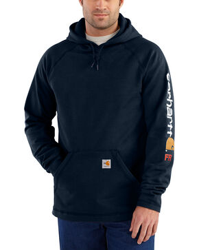 Carhartt Men's Flame Resistant Rugged Flex Graphic Logo Fleece Jacket - Big & Tall, Navy, hi-res
