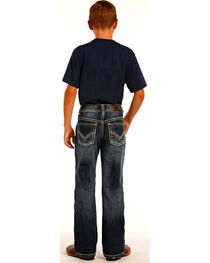 Rock & Roll Cowboy Boys' Indigo Large Khaki and Ivory V Embroidery Jeans - Boot Cut, , hi-res
