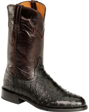 Lucchese Men's Coleman Full Quill Ostrich Western Boots, Black, hi-res