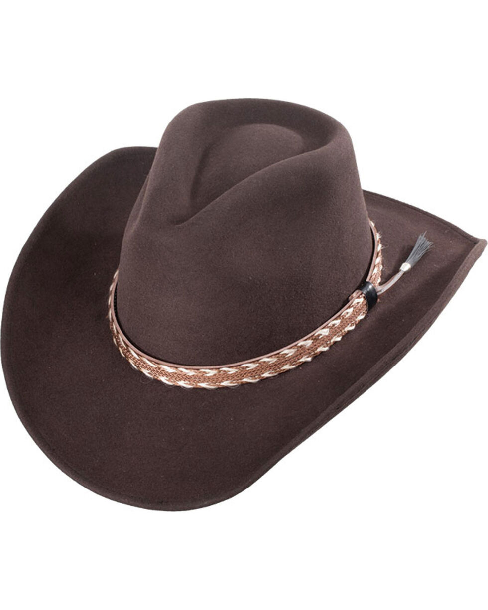 Western Express Men's Clayton Brown Wool Felt Braided Band Hat, Brown, hi-res