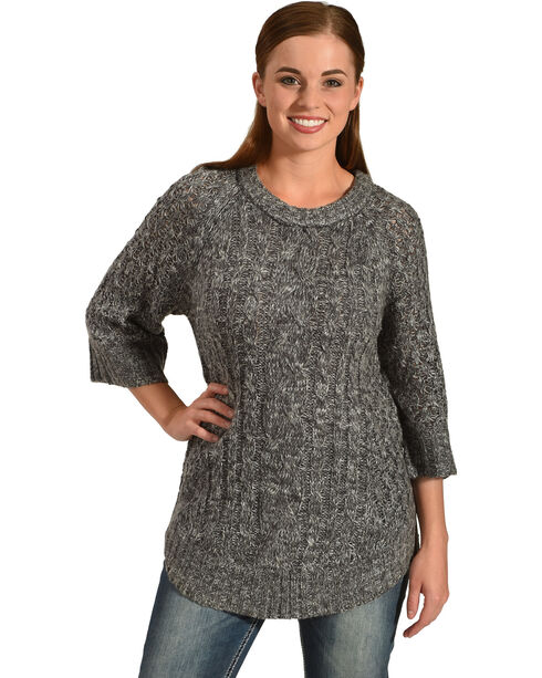 Allison Brittney Women's Cable Knit Sweater, Grey, hi-res