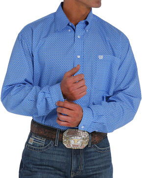 Cinch Men's Royal Blue Plain Weave Print Long Sleeve Button Down Shirt, Royal Blue, hi-res