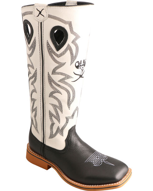 Twisted X Kid's Cowkid's Buckaroo Square Toe Western Boots, Black, hi-res