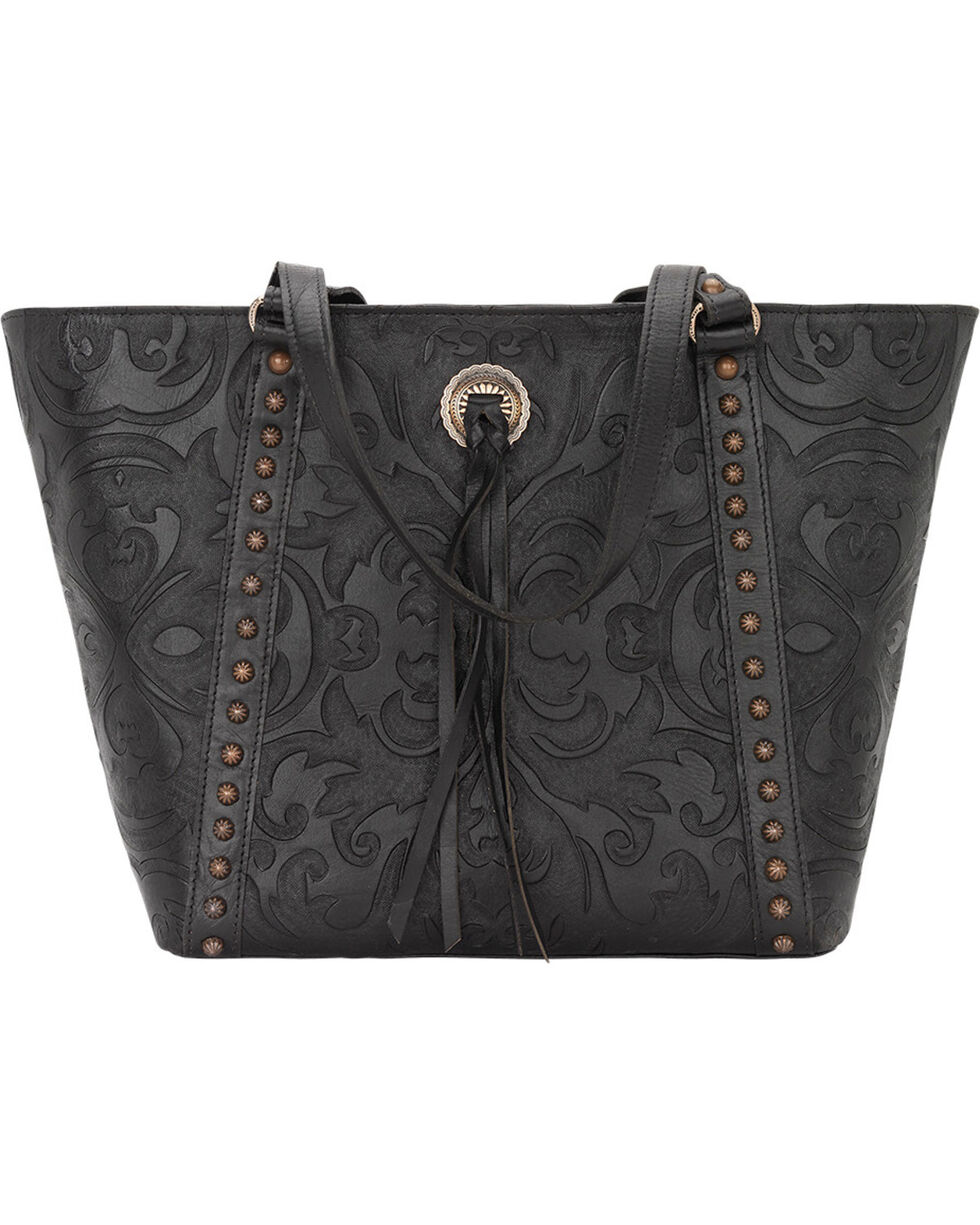 American West Women's Baroque Zip-Top Bucket Tote, Black, hi-res