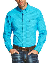 Ariat Men's Turquoise Riverton Long Sleeve Printed Shirt , , hi-res