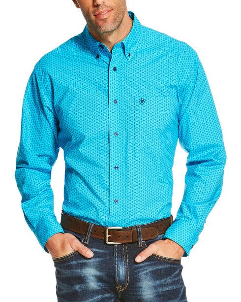 Ariat Men's Turquoise Riverton Long Sleeve Printed Shirt , , hi-res