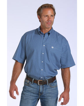 Cinch Men's Blue Geo Print One Pocket Short Sleeve Shirt - Big and Tall, Blue, hi-res