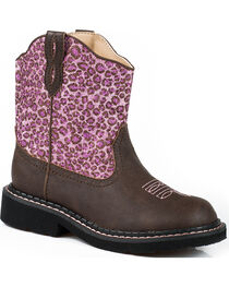 Roper Girls' Cheetah Western Boots, , hi-res