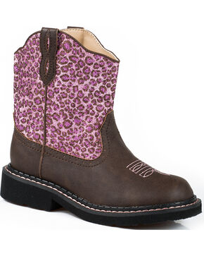 Roper Girls' Cheetah Western Boots, Brown, hi-res