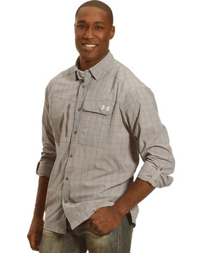 Under Armour Men's Charcoal Grey Fish Hunter Long Sleeve Plaid Shirt , Charcoal Grey, hi-res
