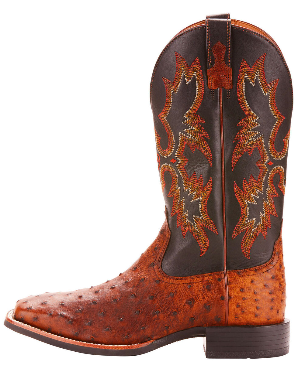Ariat Men's Full-Quill Ostrich Exotic Western Boots - Wide Square Toe, Brown, hi-res