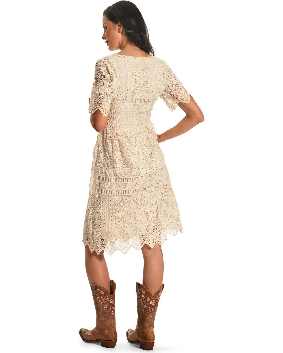 Polagram Women's Short Sleeve Lace Dress, White, hi-res