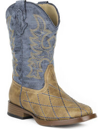 Roper Youth Boys' Tan Cross Cut Western Boots - Square Toe , , hi-res