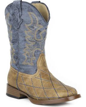 Roper Youth Boys' Tan Cross Cut Western Boots - Square Toe , Tan, hi-res