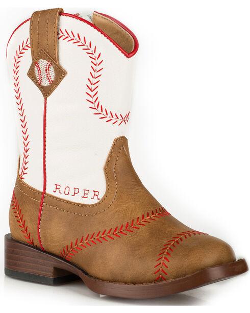 Roper Toddler Boys' Baseball Cowboy Boots - Square Toe, Tan, hi-res