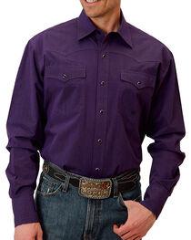 Roper Men's Solid Printed Long Sleeve Shirt, Purple, hi-res