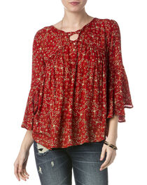 Miss Me Women's Red Floral Lace-Up Top , , hi-res