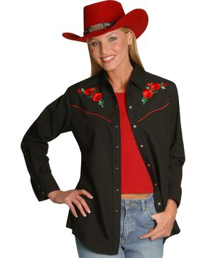 Ely Walker Women's Embroidered Rose Long Sleeve Western Shirt, Black, hi-res