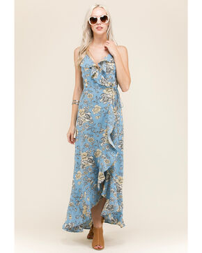 Polagram Women's Floral Wraparound Dress, Blue, hi-res