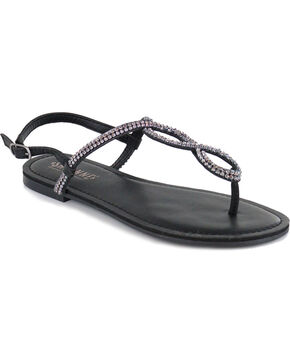 Shyanne® Women's Bling Loop Sandals, Black, hi-res