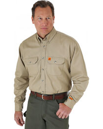Wrangler Riggs Workwear Khaki Flame Resistant Long Sleeve Shirt, , hi-res