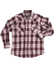 Ely Cattleman Men's Burgundy Textured Plaid Long Sleeve Snap Shirt, Red, hi-res