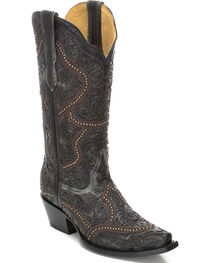 Corral Women's Full Overlay and Studs Cowgirl Boots - Snip Toe , , hi-res