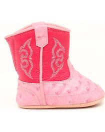 Blazin Roxx Infant Girls' Kinsley Pink Faux Ostrich Cowgirl Booties, , hi-res