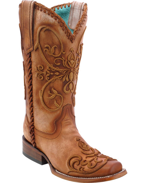 Corral Women's Whip Stitch Western Boots, Tan, hi-res
