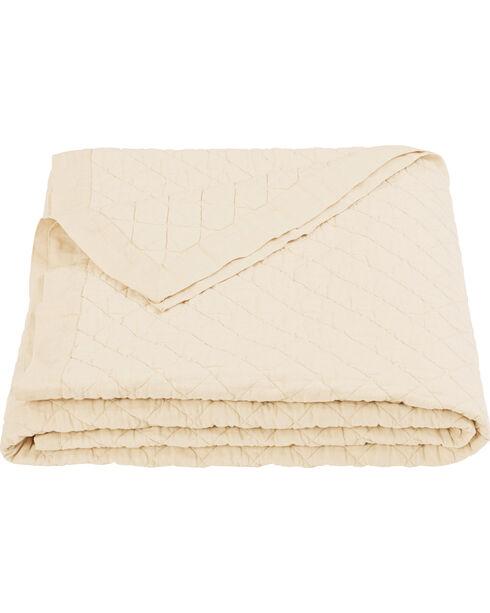 HiEnd Accents Diamond Pattern Cream Linen King Quilt, Cream, hi-res