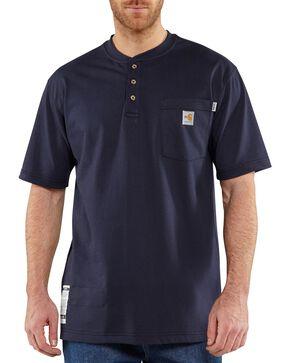 Carhartt Flame Resistant Henley Work Shirt - Big & Tall, Navy, hi-res
