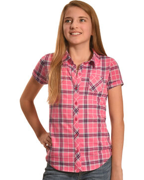 Derek Heart Girls' Pink Short Sleeve Button Down Shirt, Pink, hi-res