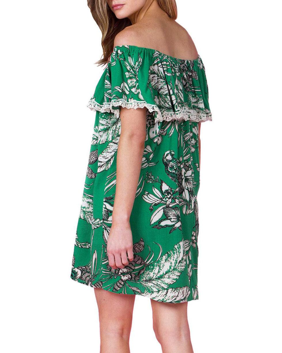 Miss Me Women's Green Off Shoulder Floral Print Dress , Green, hi-res