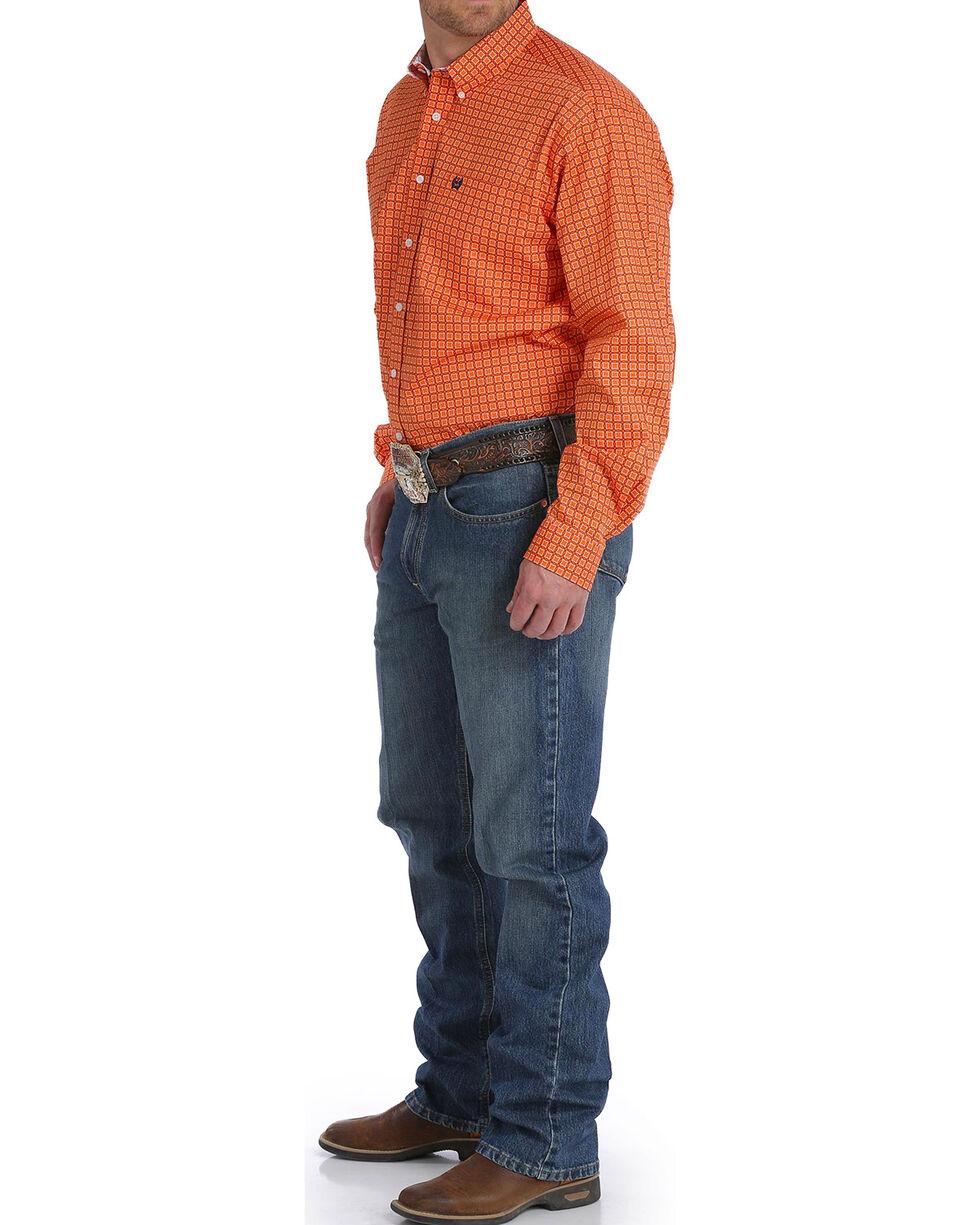 Cinch Men's Orange Square Patterned Western Shirt , Orange, hi-res