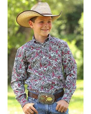 Cinch Boys' Paisley Printed Long Sleeve Shirt, Multi, hi-res