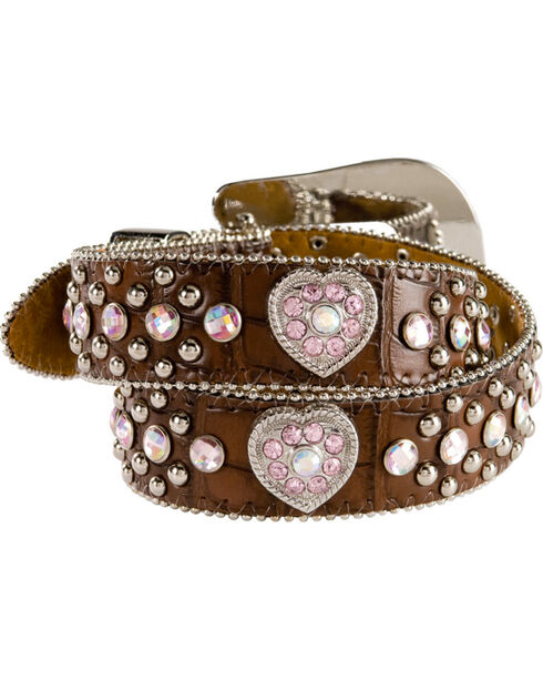 Nocona Girls' Croc Print Heart Belt, Brown, hi-res