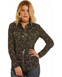 Rock & Roll Cowgirl Women's Steer Skull Enzyme Washed Snap Shirt, , hi-res