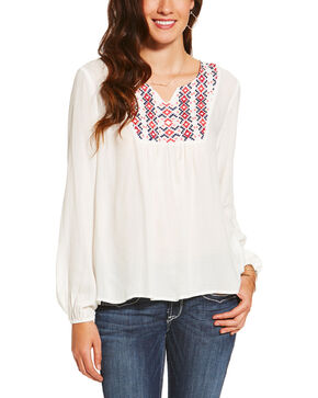 Ariat Women's White Clovis Top, White, hi-res